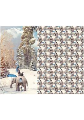 12122 Jersey Digital print paneel olifant/giraffe in sneeuw