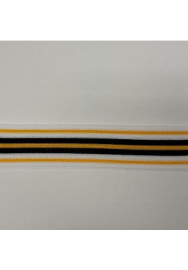 Streepband geel/wit/zwart 2,5 cm breed