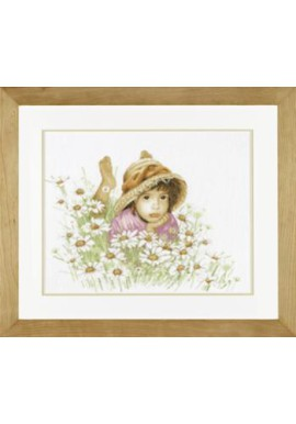 Lanarte 34919 Meisje in een bloemenveld  Telstof 46 x 36cm