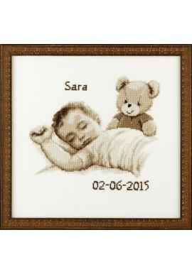 Pako 225.283 geboortetegel baby met beertje sepia Telstof 32 x 32 cm