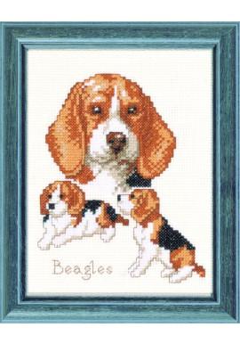 Pako 210.841 Borduurpakket Beagle honden Telstof  13 x 17cm