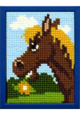 027.030 Borduurpakket happy paard voor kinderen Stramien 18 x 24 cm