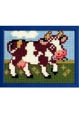 027.041 Borduurpakket koetje voor kinderen Stramien 18 x 24 cm