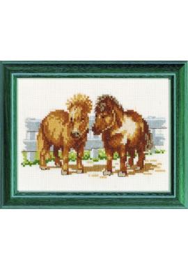 Pako 210.820 Borduurpakket shetland pony's Telstof  13 x 17cm