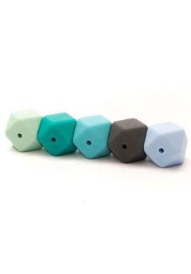 Silicone Hexagon kraal 17mm. Kaart a 5 stuks. Blauw/Groen