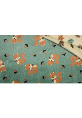 KC4018-223 PE Cuddle Fleece SQUIRREL / LEAVES DUSTY GREEN