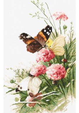 Borduurpakket Butterflies and Bluebird Flowers - Leti Stitch
