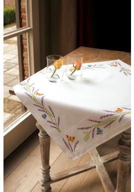 PN-0013030 Aida tafelkleed kit Lavendel en vlinders 80 x 80 cm