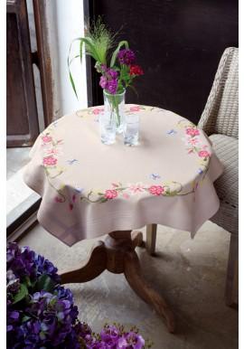 PN021750 Tafelkleed kit Roze bloemen met vlinders 80 x 80 cm