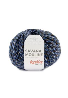 Savana Mouliné Kleur 205 - Blauw-Hemelsblauw-Bruin