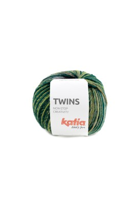 Twins Kleurnummer 155 - Blauw-Grijs-Mosterdgeel-Wijnrood