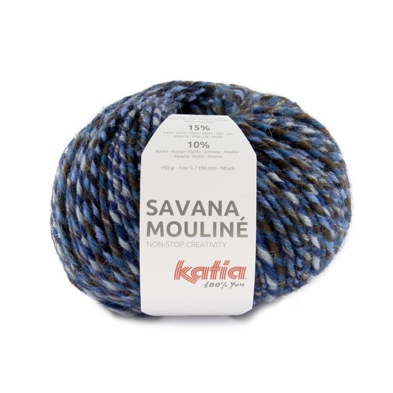 Savana Mouliné 205 - Blauw-Hemelsblauw-Bruin